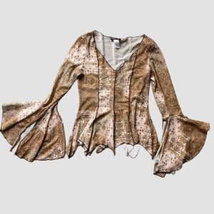 Vintage Boho Long Sleeve Blouse Top